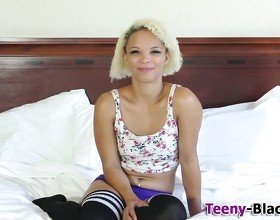 Blonde ebony teen posing