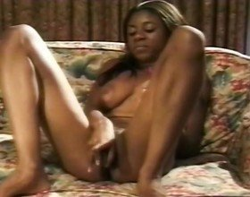 Ebony Babe Masturbates At The