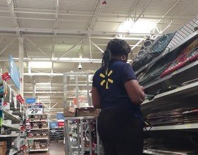 Walmart worker with a phatty Plus