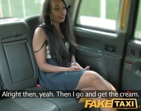 FakeTaxi Brunette sucks fucks and