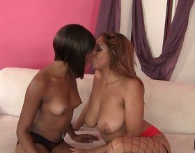 Two Ebony Lesbians Get Down And
