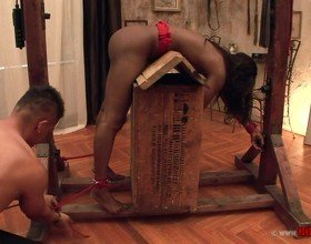 ebony beauty gets tied up & fucked